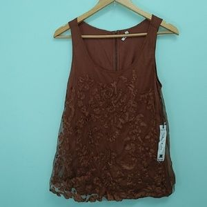 Willow and Clay Brown Laced Top
